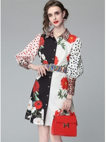 Wholesale Europe Color Block Dots Flowers Puff Sleeve Dress