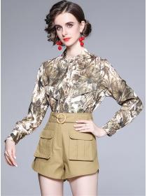 Retro Fashion Flowers Loosen Blouse with High Waist Pants