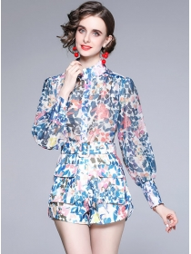 Wholesale Europe Puff Sleeve Blouse with Flowers Pants