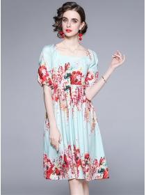 Pretty Europe Square Collar High Waist Flowers Dress