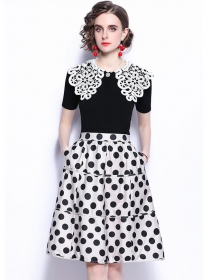 Lace Doll Collar Knitting T-shirt with Dots A-line Skirt