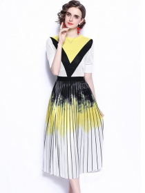Retro Europe Knit Tops with Color Block Pleated A-line Skirt
