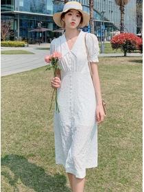 Fashion Korea Doll Collar Puff Sleeve Slim Long Dress