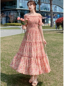 Pretty Summer Boat Neck Flowers Chiffon Long Dress