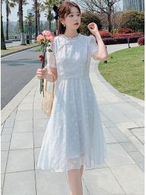 Korea Wholesale Flowers Short Sleeve A-line Dress