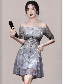Retro Sexy Single-breasted Boat Neck Lace Dress