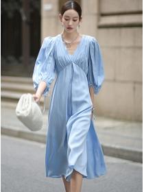 Brand Fashion High Waist V-neck Puff Sleeve Long Dress