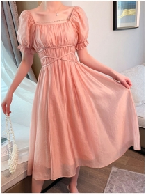 Pretty Wholesale 2 Colors Square Collar Puff Sleeve Dress