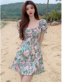 Pretty Summer Tie Square Collar Flowers A-line Dress