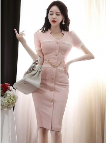 Elegant Lady Single-breasted V-neck Chain Waist Slim Dress