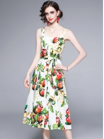 Summer Fashion Single-breasted Flowers Straps Long Dress