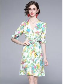 Pretty Women Tie Waist V-neck Flowers A-line Dress