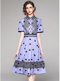 Summer New 2 Colors Shirt Collar Dots Flowers A-line Dress