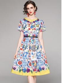 Charming Summer Round Neck Flowers Short Sleeve Dress