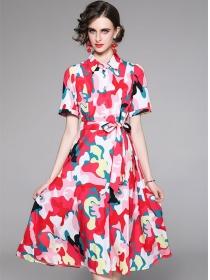 Modern Lady 2 Colors Camouflage Tie Waist A-line Dress