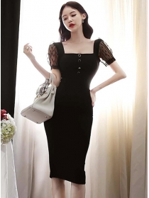 Korea OL Square Collar Gauze Short Sleeve Bodycon Dress