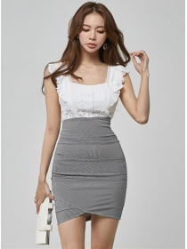 Fashion Korea High Waist Lace Splicing Slim Tank Dress
