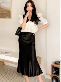 Fashion Doll Collar Puff Sleeve Blouse with Fishtail Long Skirt