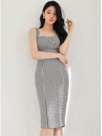 Summer Wholesale High Waist Houndstooth Straps Dress