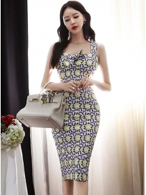Pretty Women Bowknot Collar Flowers Slim Straps Dress