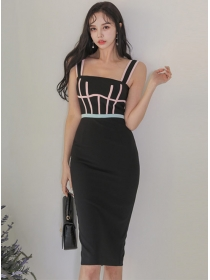 Wholesale Korea Stripes High Waist Straps Women Dress