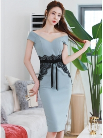 Elegant Fashion Boat Neck Lace Waist Bodycon Dress