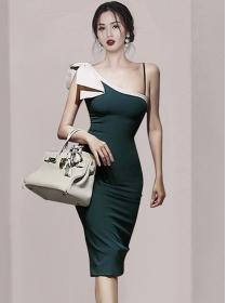 Sexy Women Color Block Bowknot Off Shoulder Slim Dress