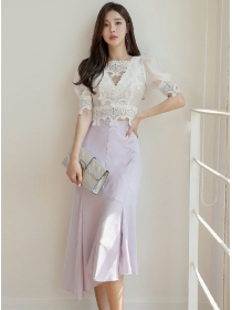 Charm Grace Lace Puff Sleeve Blouse with Fishtail Skirt