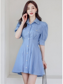 Fashion Lady Single-breasted Puff Sleeve Denim Shirt Dress