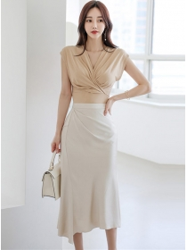 Sexy Fashion Pleated V-neck High Waist Fishtail Dress Set