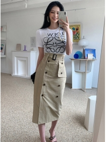 Letters Cotton T-shirt with Double-breasted Slim Skirt