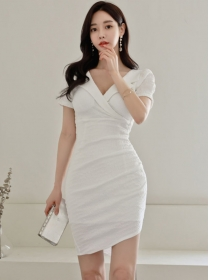 Wholesale Grace Tailored Collar Skinny Short Sleeve Dress