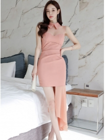 Pretty Korea Doll Collar Fishtail Splicing Slim Tank Dress