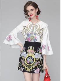 Charming Europe Flare Sleeve High Waist Flowers Dress Set
