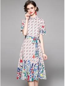 Pretty Summer Tie Waist Shirt Collar Flowers Long Dress