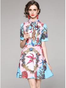 Summer Wholesale Flowers Short Sleeve A-line Dress
