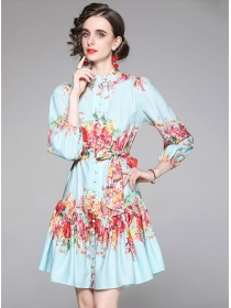 Fashion Europe Single-breasted Tie Waist Flowers A-line Dress