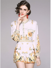 Retro Europe High Waist Flowers Two Pieces Suits
