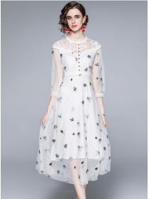 Pretty Women High Waist Flowers Embroidery Gauze Dress