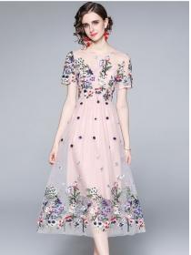 Grace Fashion High Waist Flowers Embroidery A-line Dress