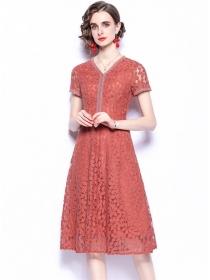 Fashion Summer V-neck Lace Flowers Short Sleeve Dress