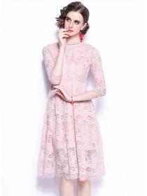 Pretty Women 2 Colors High Waist Lace Flowers A-line Dress