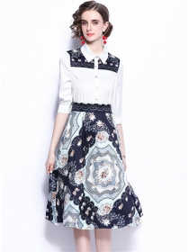 Fashion New 2 Colors Mid-sleeve Blouse with Flowers Skirt