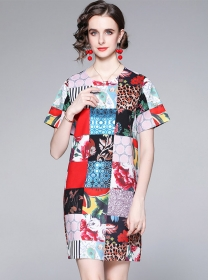 Wholesale Round Neck Leopard Plaids Flowers Women Dress