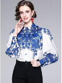 Retro Fashion Flowers Puff Sleeve Loosen Women Blouse
