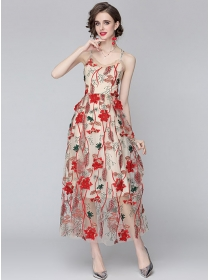 Pretty Sexy Backless Flowers Embroidery Straps Maxi Dress