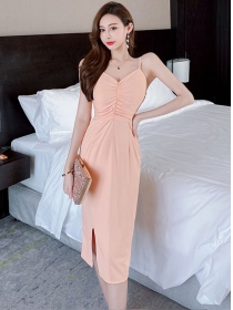 Wholesale Stylish Pleated V-neck Straps Slim Dress