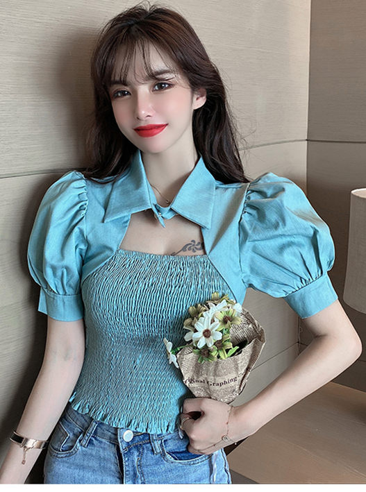 Lovely Fashion 2 Colors Puff Sleeve Shirt Collar Pleated Blouse