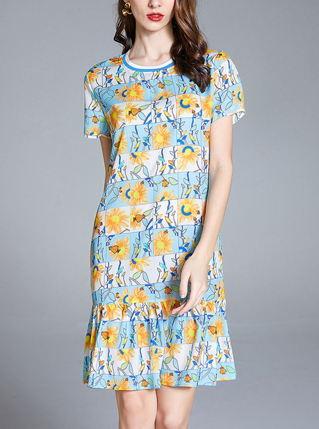Europe Wholesale Round Neck Plaids Flowers Fishtail Dress
