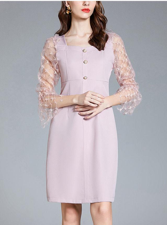 Fairy Women Square Collar Gauze Sleeve Slim A-line Dress
